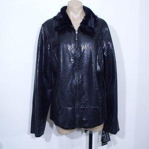 Pamela McCoy Reversible Faux Fur Snakeskin Jacket